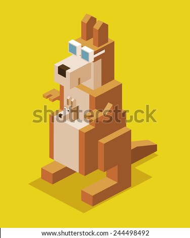 kangaroo with glasses. 3d pixelate isometric vector - stock vector