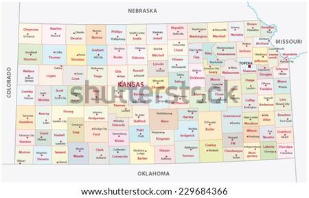 kansas administrative map - stock vector