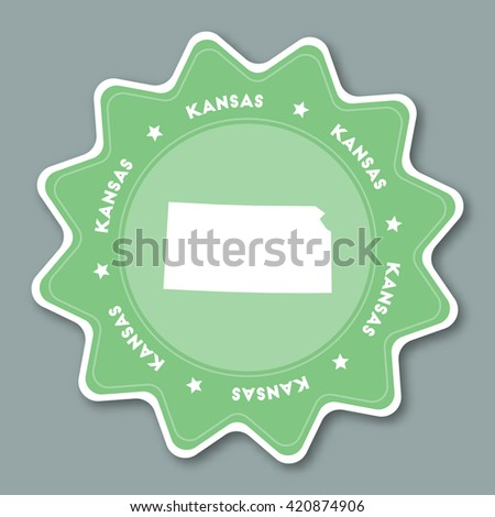 Kansas Map Sticker In Trendy Colors Travel Sticker With Us State Name And Map