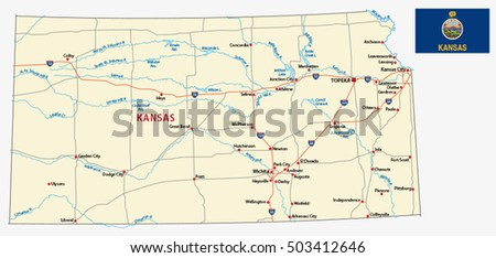 Kansas Road Map Stock Images RoyaltyFree Images Vectors - Kansas road map