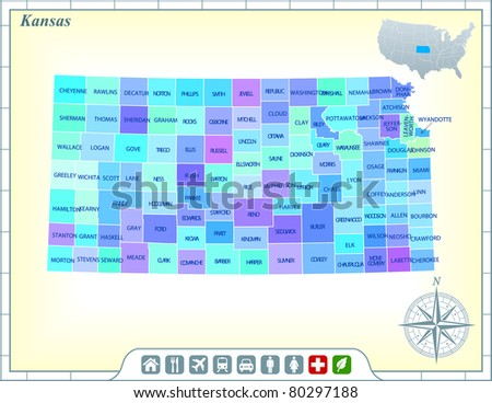 Kansas State Map Community Assistance Activates Stock Vector - Kansas state map
