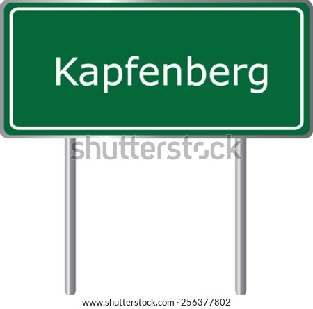 Kapfenberg, Austria, road sign green vector illustration, road table - stock vector