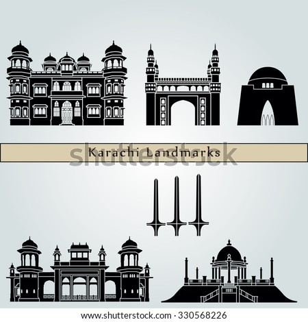 Karachi landmarks and monuments isolated on blue background in editable vector file - stock vector