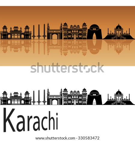 Karachi skyline in orange background in editable vector file - stock vector