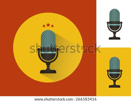 Karaoke microphones set  with isolated on white icon  - stock vector