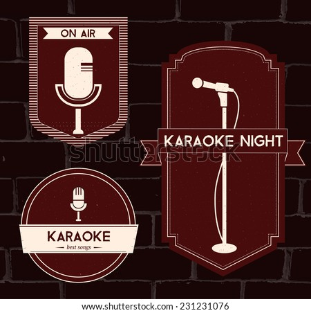 Karaoke night announcement, retro and modern microphones. Set of vector red logos and badges with ribbons at red brick background.  - stock vector