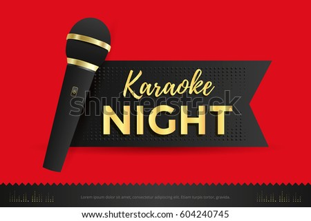 Karaoke Night Poster Template Design With Black Microphone. Vector  Illustration
