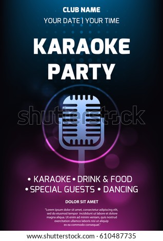 Karaoke party invitation flyer template dark stock vector 610487735 karaoke party invitation flyer template dark stock vector 610487735 shutterstock stopboris Choice Image