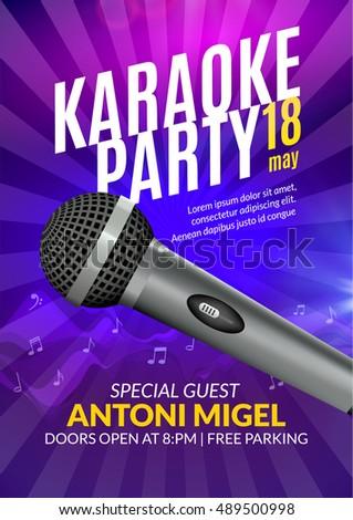 Karaoke party invitation poster design template stock vector karaoke party invitation poster design template karaoke night flyer design music voice concert stopboris Choice Image