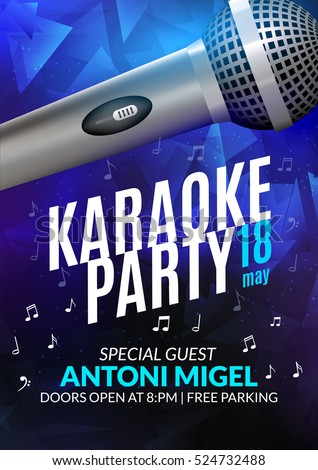 Karaoke Party Invitation Poster Design Template Stock Vector Hd