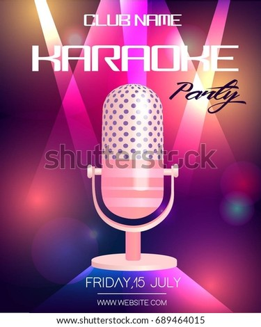 Karaoke party invitation poster design template stock vector hd karaoke party invitation poster design template neon glowing flyer with vintage microphone stopboris Choice Image