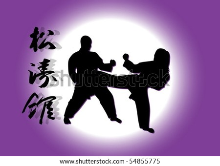 Karate fight - stock vector