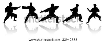 karate fighters vector - stock vector