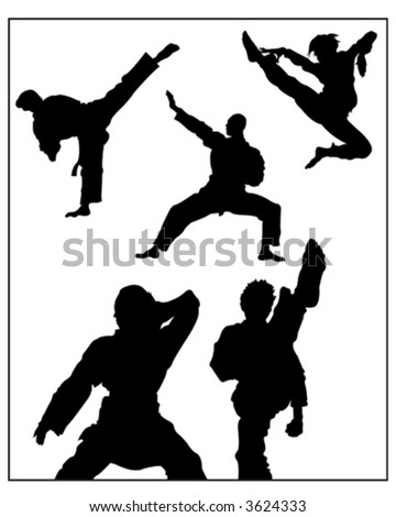Karate Group Silhouette