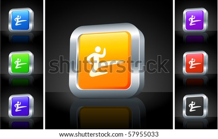 Karate Icon on 3D Button with Metallic Rim Original Illustration - stock vector