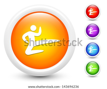 Karate Icons on Round Button Collection Original Illustration - stock vector