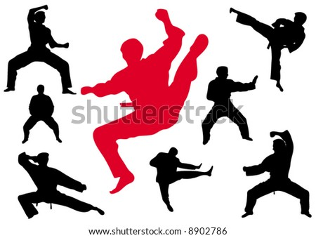 Karate kungfu a silhouette on a white background - stock vector