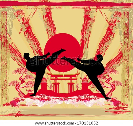 karate occupations - Grunge background  - stock vector