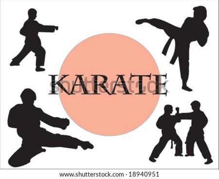 Karate people Silhouette - stock vector
