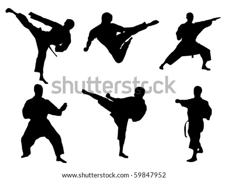 Karate poses - stock vector