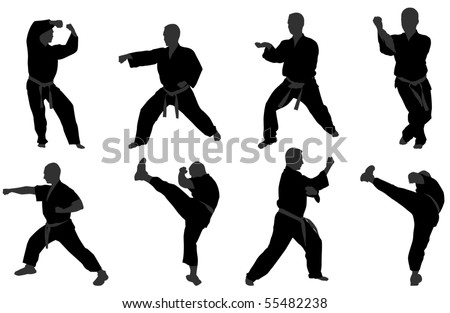 karate positions - stock vector