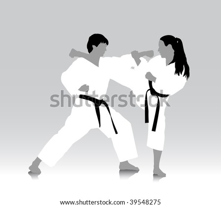Karate silhouette drawing, vector file in AI and EPS format, all parts closed, editing is possible - stock vector