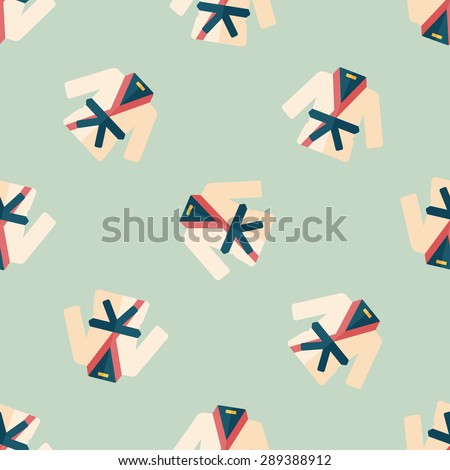 Karate suit flat icon,eps10 seamless pattern background - stock vector