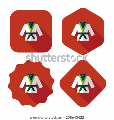 Karate suit flat icon with long shadow, eps10 - stock vector