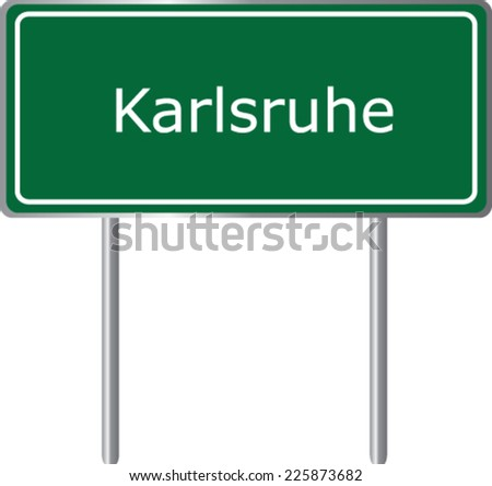Karlsruhe, Germany, road sign green vector illustration, road table - stock vector