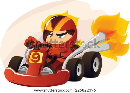 kart going at super speed cartoon illustration - stock vector