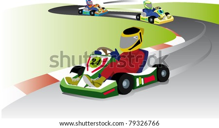 karting go!! race kart motor racing champiosip - stock vector