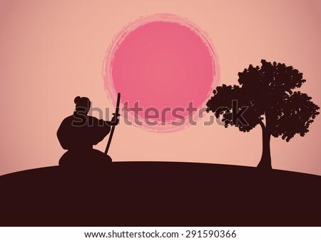 katana samurai silhouette sun vector illustration - stock vector