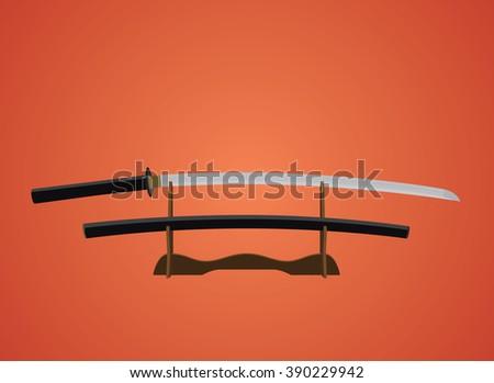 katana sword samurai japanese with red background - stock vector
