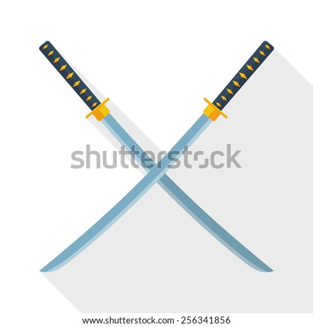 Katana swords icon with long shadow on white background - stock vector