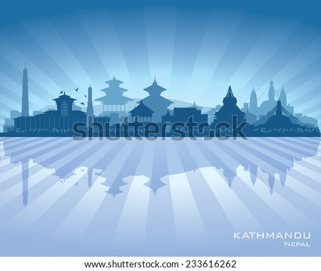 Kathmandu Nepal  city skyline vector silhouette illustration - stock vector