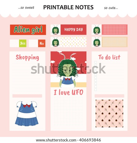 Kawaii and cute set vector design elements for notebook, diary, sticker, label, tag, paper, memo with alien girl illustration. Shopping, to do list. Pink color theme - stock vector
