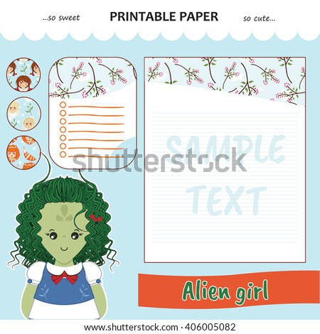 Kawaii and cute set vector printable paper for diary, notebook, letters. Alien girl stickers and illustration. Festive childish cartoon design. Blue color theme - stock vector