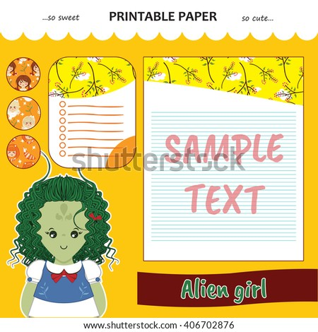 Kawaii and cute set vector printable paper for diary, notebook, letters. Alien girl stickers and illustration. Festive childish cartoon design. Honey yellow color theme - stock vector