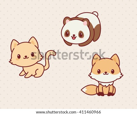 Kawaii animals set, part 2. Vector illustration of cute animals. Kitten, panda, fox.