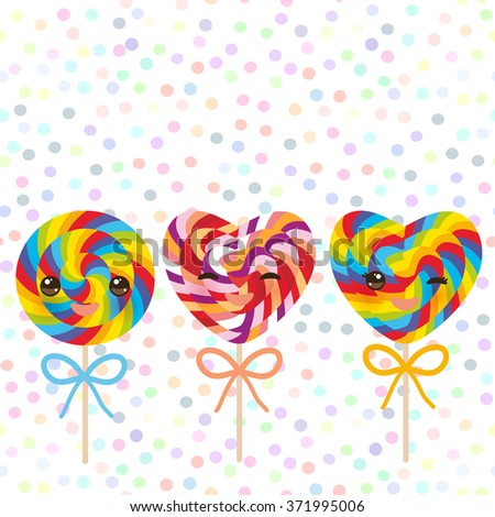 Kawaii colorful Set candy lollipops with bow, spiral candy cane. Candy on stick with twisted design with pink cheeks and winking eyes, pastel colors polka dot background. Vector - stock vector