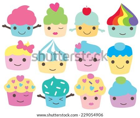 Kawaii Cupcake People Characters - stock vector