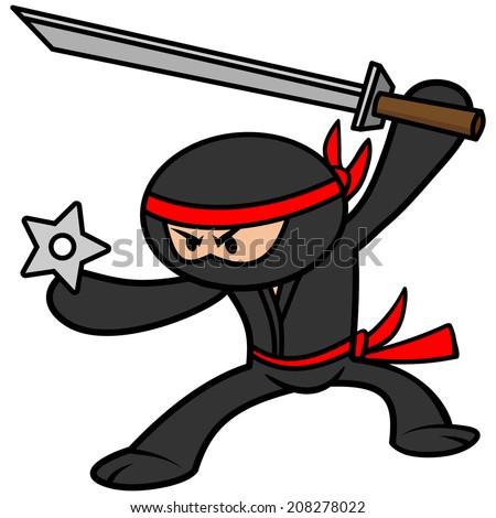 Kawaii Ninja - stock vector