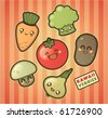 Kawaii smiling vegetables - stock vector