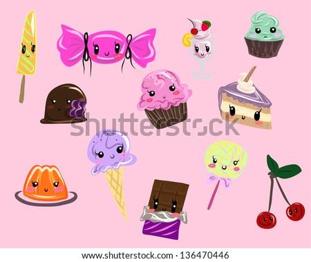 Kawaii sweets set - stock vector