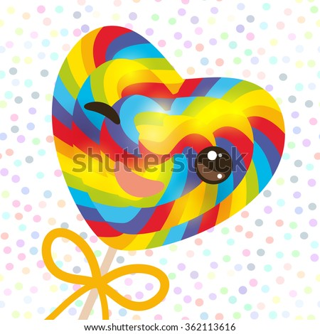 Kawaii with pink cheeks winking eyes, Valentine's Day Heart shaped candy lollipop with bow, bright rainbow stripes, colorful spiral candy cane. white abstract retro polka dot background. Vector - stock vector
