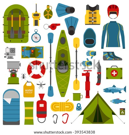 kayaking icons collection river camping outdoor stock ... river rafting equipment diagram #10