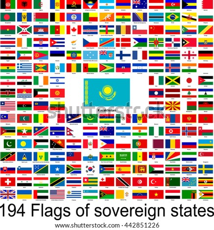 Kazakhstan, collection of vector images of flags of the world