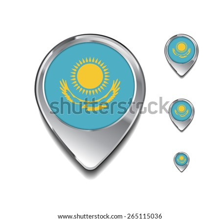 Kazakhstan flag map pointer. 3d Map Pointer with flag glossy button style on gray background - stock vector