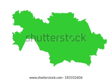 Kazakhstan green vector map high detailed isolated on white background.