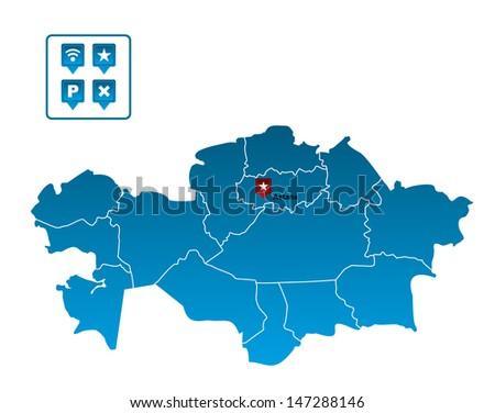 Kazakhstan Map - stock vector